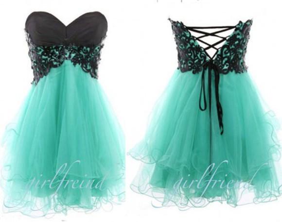 dress turquoise black lace up prom dress