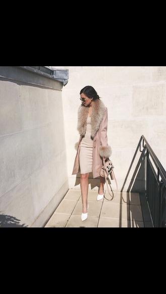 coat rose fur tumblr pink long dress long sleeves fur coat beige