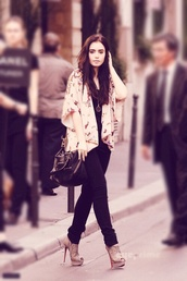 coat,jacket,butterfly,pink,pastel,cute,blouse,jeans,top,purse,necklace,jewelry,bag,baggage,shoes,lily collins,cardigan