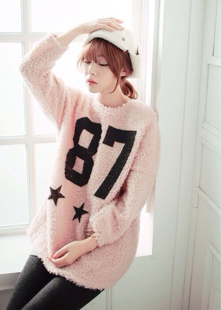 sweater pink fuzzy sweater fluffy oversized sweater kawaii cute 87
