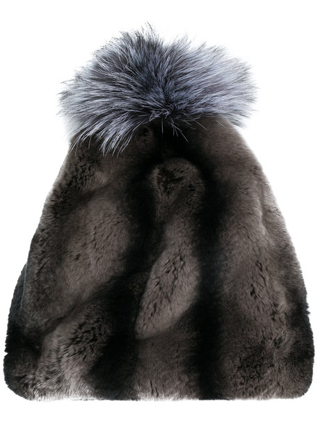 fur hat beanie black