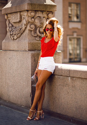 shoes,slingbacks,strappy heels,clear heels,shirt,sunglasses,shorts,white shorts