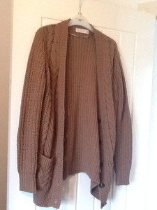 medium brown tan cable knit cardigan elbow patches | eBay
