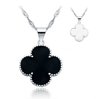 jewels four-leaf clover necklace black and white necklace silver necklace