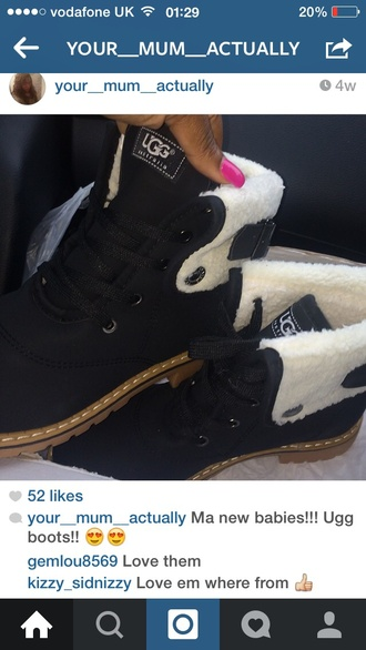 shoes ugg australia ugg boots black boots winter boots furry boots boots