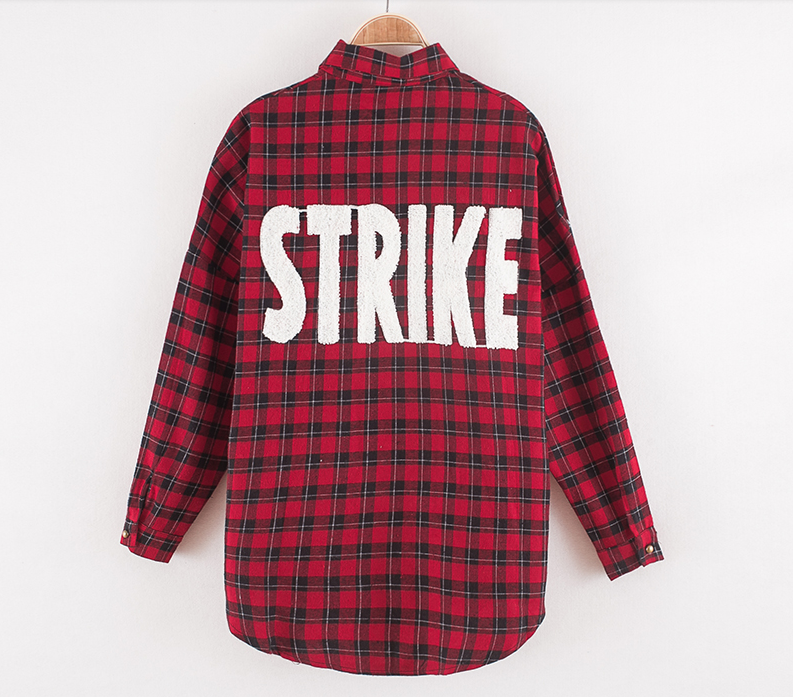 The general strike plaid blouse