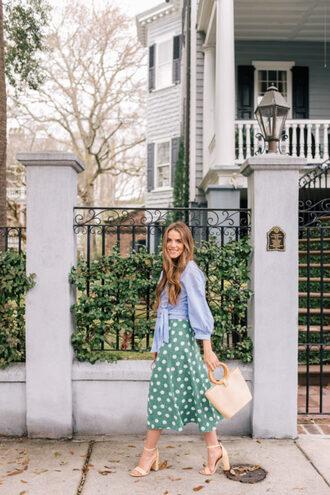 gal meets glam blogger top skirt shoes bag sandals midi skirt blue shirt