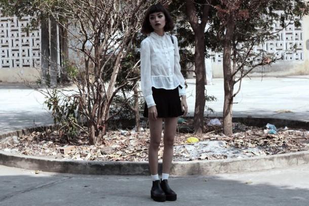 bloody rosess blogger white blouse blouse skirt shoes