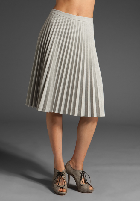 Trina turk shaye pleated skirt in heather grey at revolve clothing