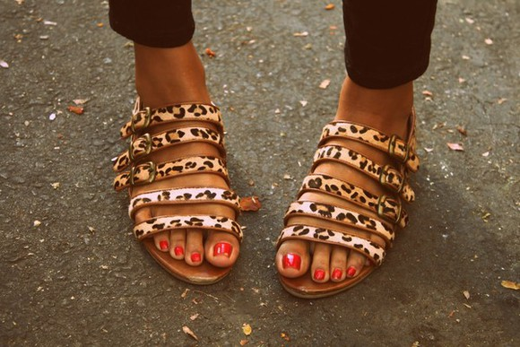 shoes straps sandals summer clothes flats cute leopard print