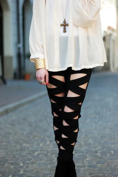 cut-out black leggings leggings casual bottoms blouse pants underwear criss cross goth emo jeans cut-out