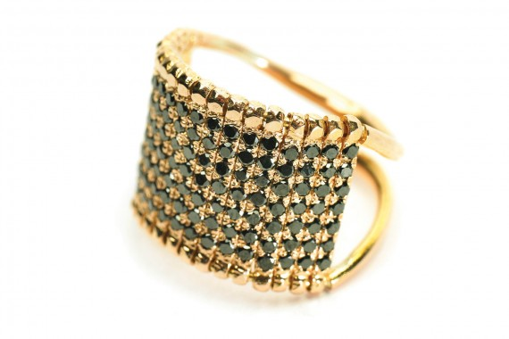 Barette Ring With Black Diamonds - Apriati