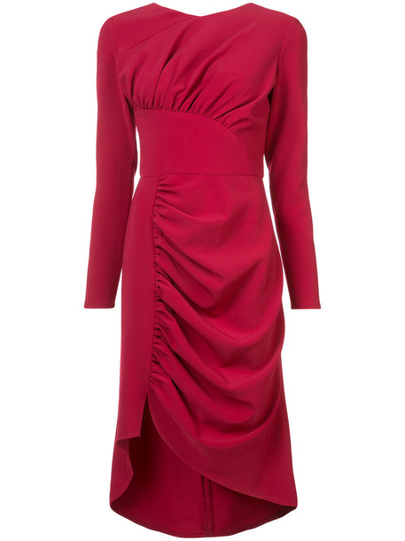 Christian Siriano dress women spandex silk red