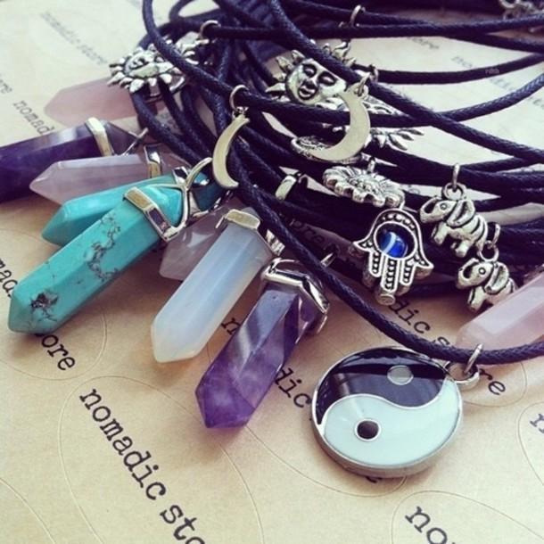 jewels crystal necklace turqoise yin yang hamsa sun moon silver gemstone crystal moon and sun moon