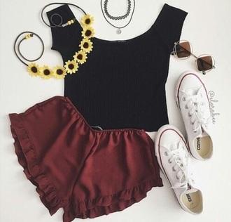 shorts shirt black burgundy sunglasses flower crown choker necklace converse white