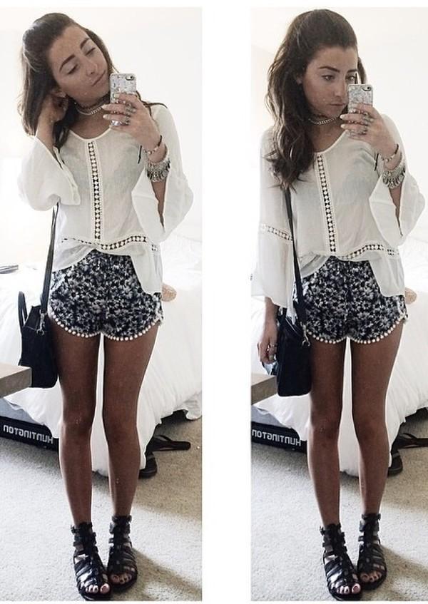 white top flowered shorts mini shorts black bag shoulder bag black sandals gladiators
