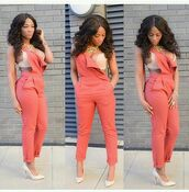 jumpsuit,peach,overalls,nude high heels,nude pumps,jewels