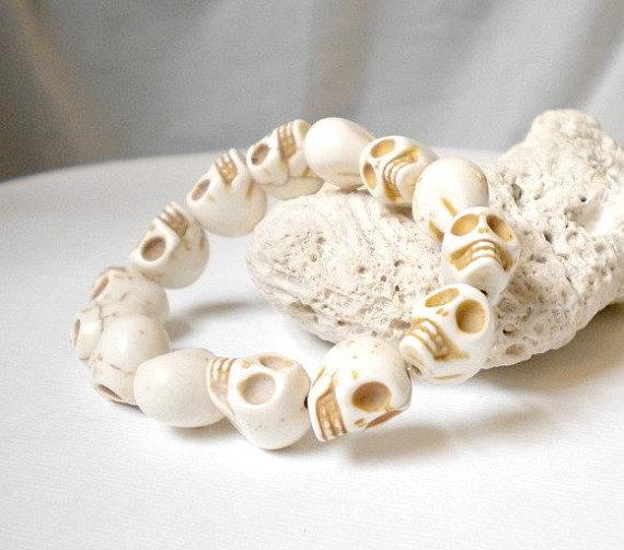 Mens skull bracelet white stretch by eaglerowe on etsy
