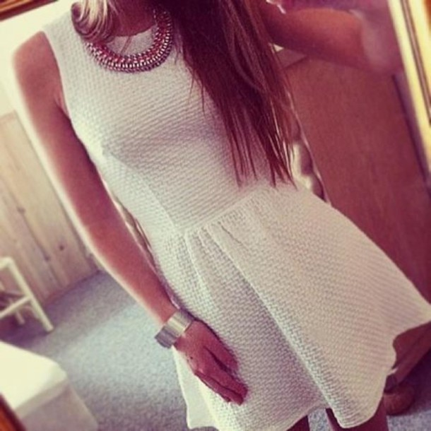 Dress White Party Jewels White Dress Girly Black Necklace Tumblr Tumblr Girl Pretty