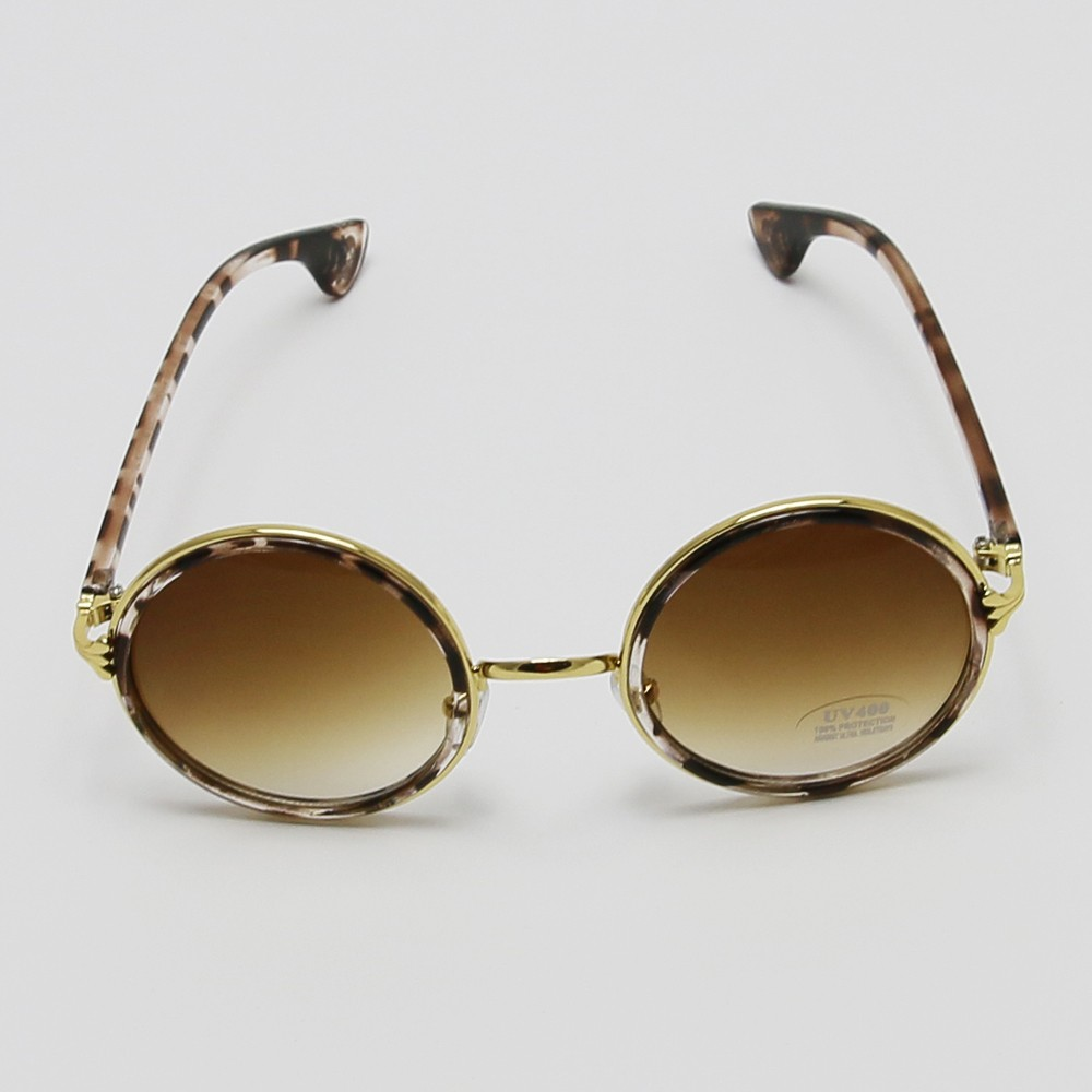 Cool Me Vintage Chic Round Glass Sunglasses-Brown