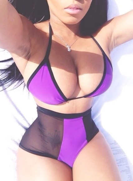 swimwear purple swimwear nicki minaj mesh highwaisted bikini black swimwear bikini