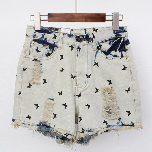 shopbazar shopping mall — [grzxy6601580]Butterfly Print High Waisted Distressed Denim Cutoffs Shorts