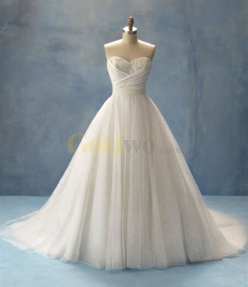 Ball Gown Sweetheart Strapless Cinderella Tulle Lace Wedding Dress - US$256.86 - Goldwo.com