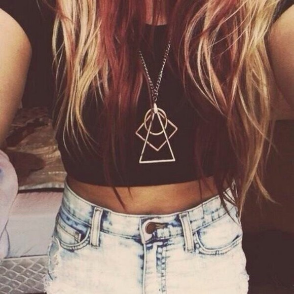 shorts jewels short gold necklace crop tops triangle