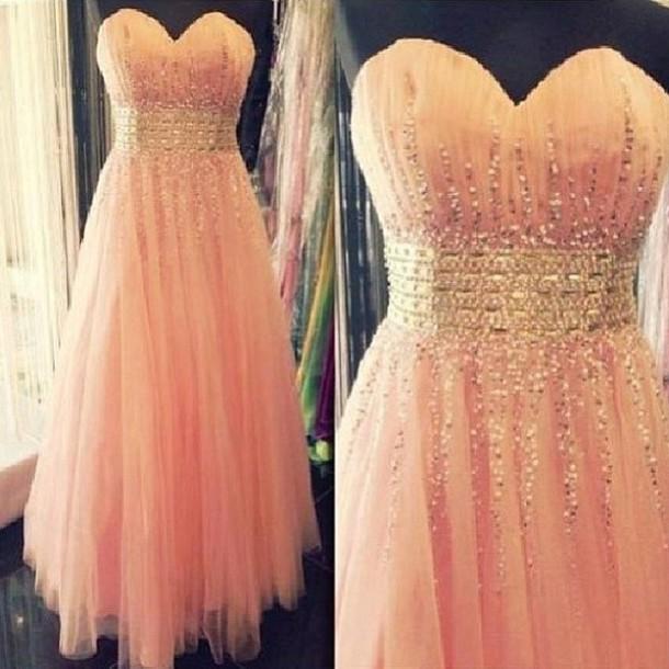 dress pink peach prom dress orange dress cute dress sweetheart dress
