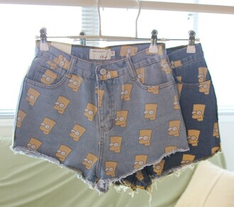 shorts bart simpson cut off shorts denim print bart shorts simpsons shorts denim shorts the simpsons swag jeans