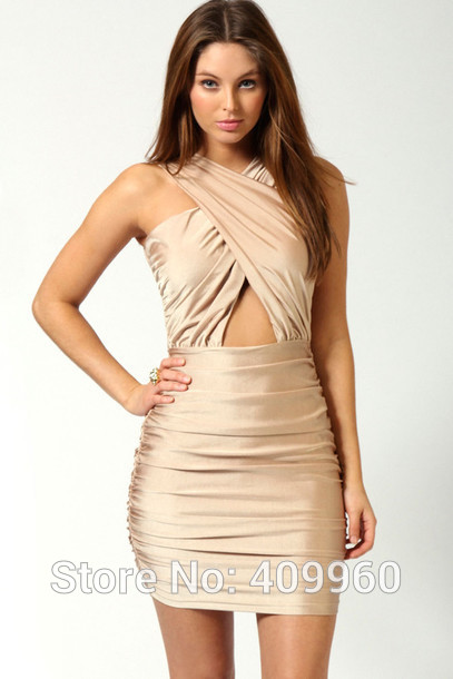 Aliexpress.com : Buy Halter Pleat Natural Waist Gold Satin Sheath Mini Short Cocktail Dress Vestido De Festa from Reliable dress bra suppliers on sexyfashionbridal | Alibaba Group