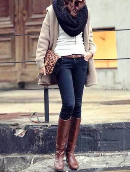 clutch shoes cheetah print oversized cardigan knitted cardigan long cardigan skinny jeans high waisted skinny jeans leather pants black leather pants infinity scarf knitted scarfs knitted infinity scarf riding boots knee high riding boots,