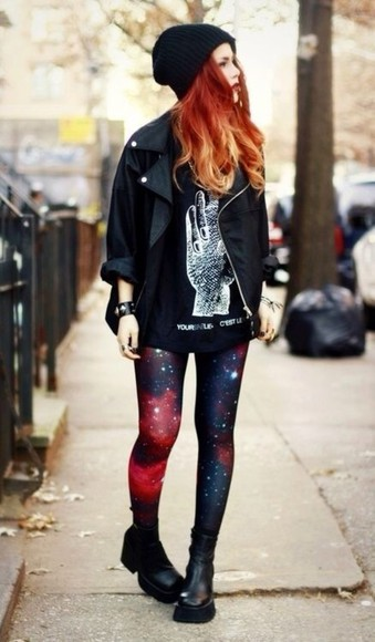 shirt jewels tank top galaxy print t-shirt nebula black shoes military shoes indie black shoes grunge grunge shoes black military shoes leggings leather jacket beanie bracelets hat jacket pants galaxy leggings le happy Red Lime Sunday