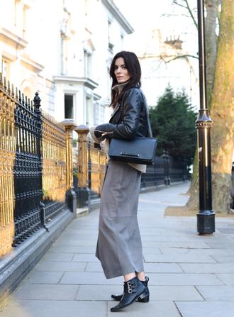 northern light blogger leather jacket long skirt