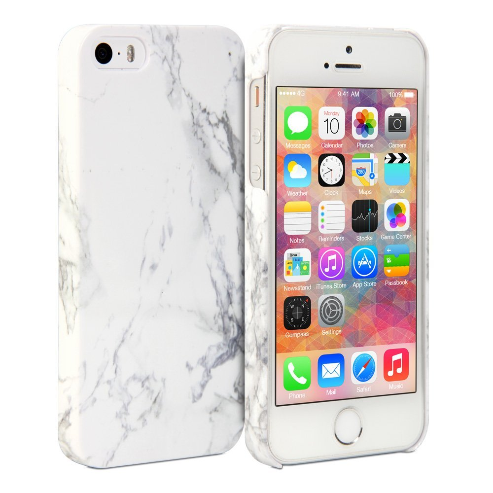 grande vendita 17a44 28a26 Amazon.com: iPhone 5S Case, GMYLE Snap Cover Glossy for iPhone 5 / iPhone  5S - White Marble Pattern Slim Fit Snap On Protective Hard Shell Back Case:  ...