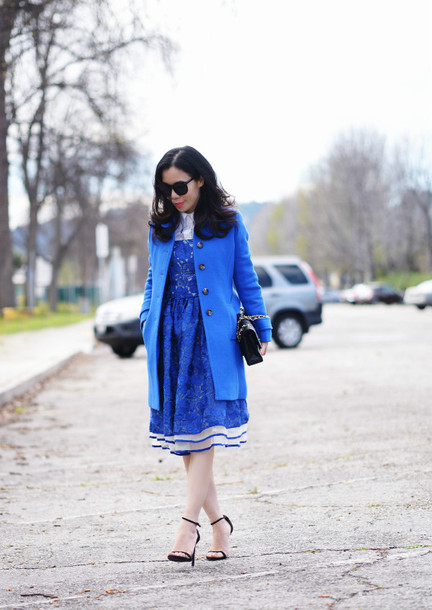 hallie daily blogger blue coat blue dress