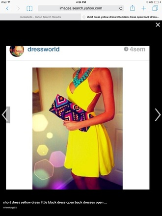 dress short yellow dress open back dresses