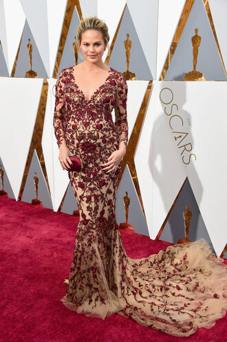 dress gown maternity dress maternity wedding dress floral dress lace dress red carpet dress chrissy teigen clutch oscars 2016 prom dress