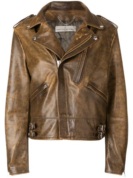 jacket women leather cotton brown