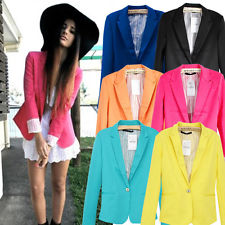 New Basic Candy OL Mint Green Coral Light Pink Yellow Slim Suit Jacket Blazer | eBay