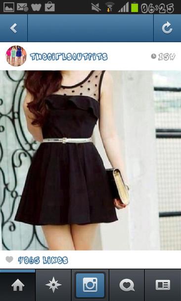 dress little black dress black peplum top dotty belt