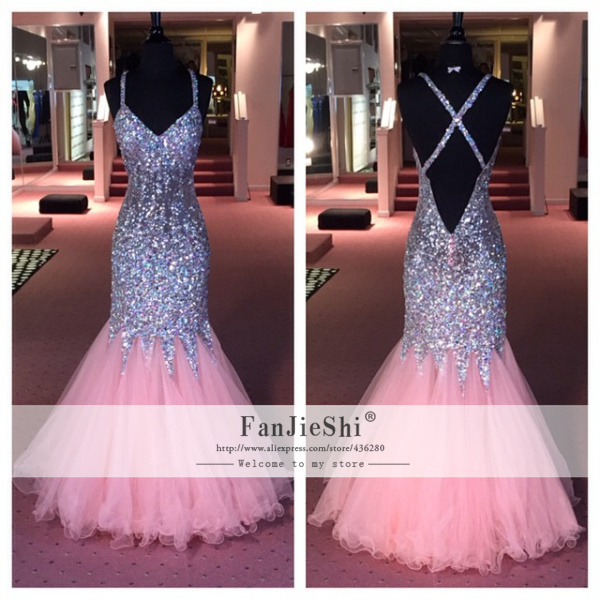 Aliexpress.com : buy hot sale luxury vestido de festa floor length sexy v neck crystal spaghetti strap backless 2015 real made mermaid prom dresses from reliable prom dresses suppliers on suzhou fanjieshi wedding dress co., ltd.