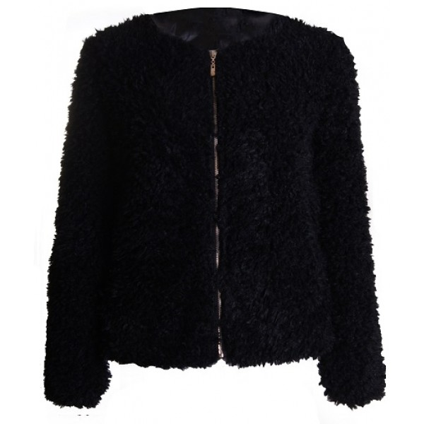 zwarte fluffy jas