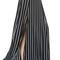 Black stripe high slit side maxi skirt