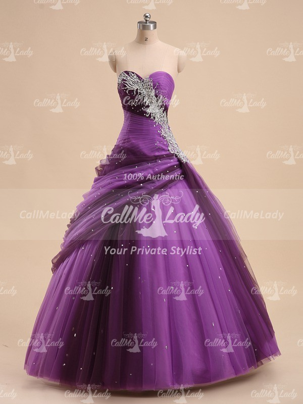 Luxurious sweetheart pleated long quinceanera dress/ prom dress - CallMeLady