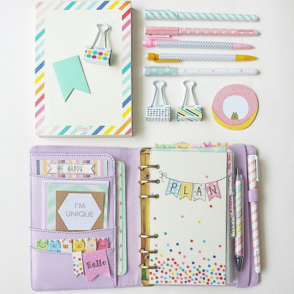 plans write bag organizer notebook girly pastel pencils pencil case cute girly wishlist new years resolution lifestyle home accessory desk