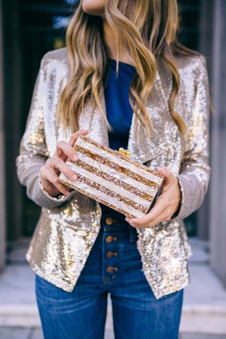 jacket tumblr sequins gold sequins sequin jacket gold jacket top blue top denim jeans blue jeans bag clutch metallic clutch