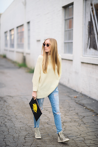 eat sleep wear blogger high top sneakers oversized sweater ripped jeans