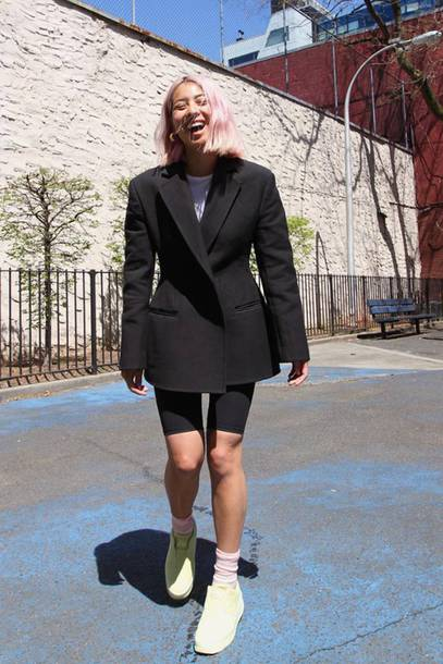 jacket blazer black blazer sneakers socks leggings white t-shirt earrings