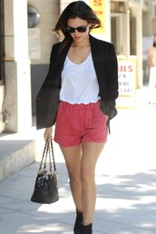 rachel bilson,pink shorts,red shorts,shorts
